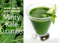 スロージューサー・レシピ:ミント味ケールとキュウリのジュース